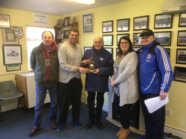 The club extends its sincere gratitude to retiring Community Employment worker Vincent Tutty for all his work in maintaining our club grounds during his time with us. As a mark of appreciation a presentation was made to Vincent in the clubhouse.Picture shows Club President Paddy Fitzgerald making a presentation to Vincent and also included left to right are Tony Ryan ,club secretary, Geraldine O Keeffe, Community EmploymentSupervisor and John Walsh Community Employment Worker.
